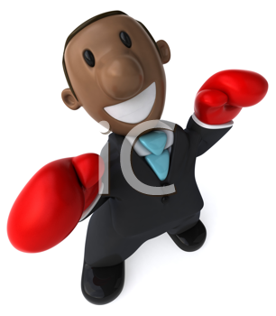 Royalty Free Clipart Image of a Black Businessman in Boxing Gloves