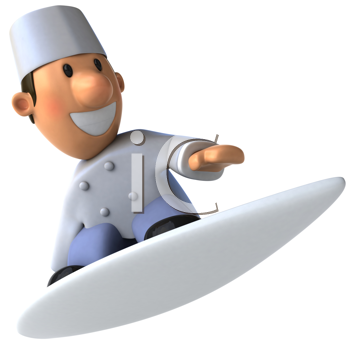 Royalty Free Clipart Image of a Baker on a Surfboard