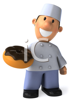 Royalty Free Clipart Image of a Baker With a Doughnut