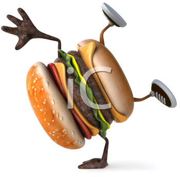 Royalty Free Clipart Image of a Burger Doing a Handstand