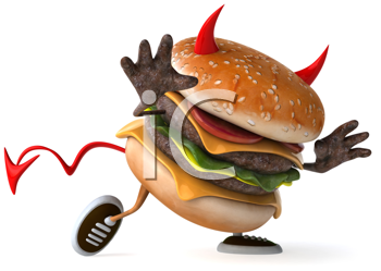 Royalty Free Clipart Image of a Running Devil Burger