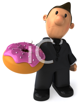 Royalty Free Clipart Image of a Businessman With a Donut