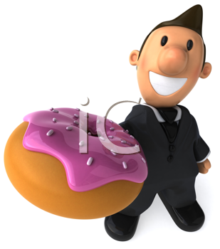 Royalty Free Clipart Image of a Businessman With a Doughnut