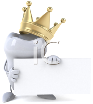 Royalty Free Clipart Image of a Tooth With a Crown Holding a Sign