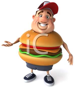 Royalty Free Clipart Image of an Overweight Man With a Cheeseburger Belly