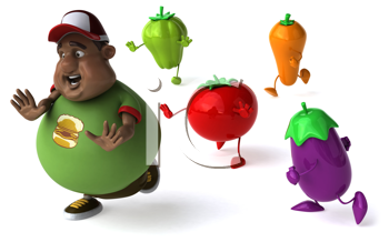 Royalty Free Clipart Image of a Man Being Chased By Veggies