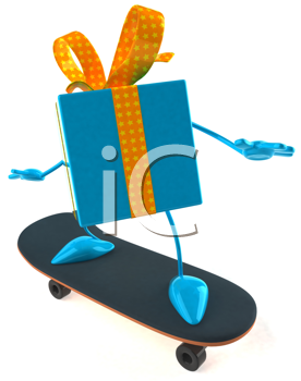 Royalty Free Clipart Image of a Gift on a Skateboard