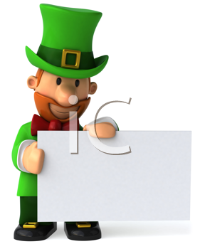 Royalty Free Clipart Image of a Leprechaun With a Sign