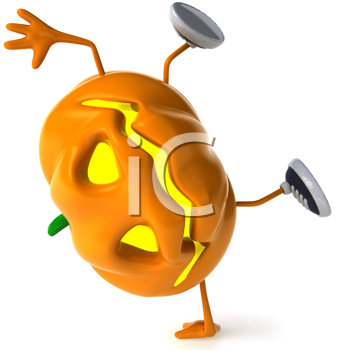 Royalty Free Clipart Image of a Jack-o-Lantern Doing a Handspring