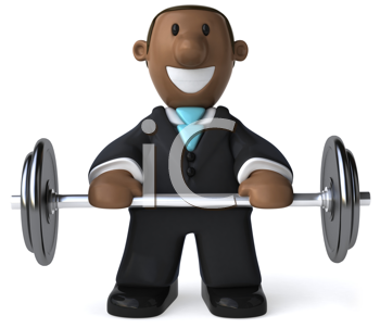 Royalty Free Clipart Image of a Black Businessman With Weights
