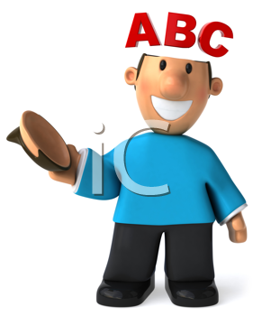 Royalty Free Clipart Image of a Man With ABC on His Open Head