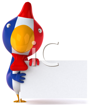 Royalty Free Clipart Image of a French Bird With a Sign