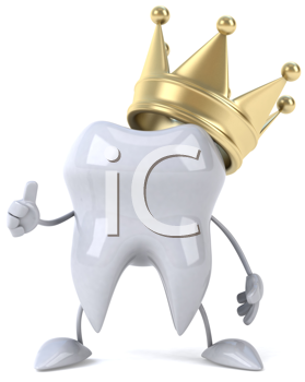 Royalty Free Clipart Image of a Tooth With a Crown Giving a Thumbs Up