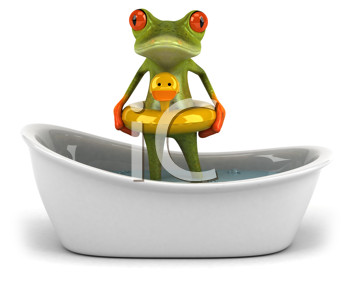 Royalty Free Clipart Image of a Frog in a Tub With a Rubber Duck Ring