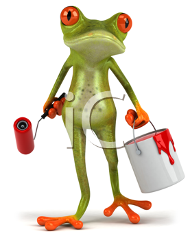 Royalty Free Clipart Image of a Painter Frog
