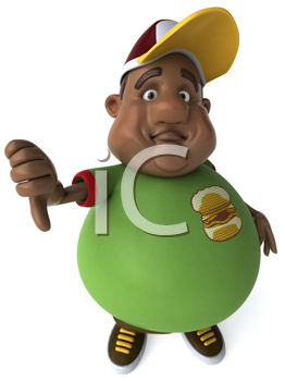 Royalty Free Clipart Image of an Overweight Black Man Giving a Thumbs Down