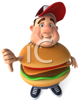 Royalty Free Clipart Image of a Man With a Burger Belly Giving a Thumbs Down