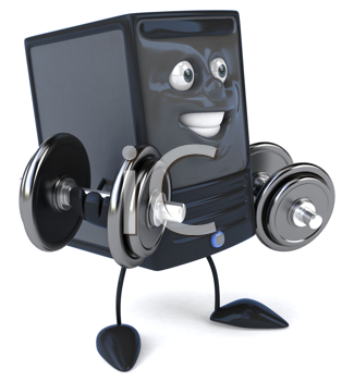 Royalty Free Clipart Image of a Modem With Weight