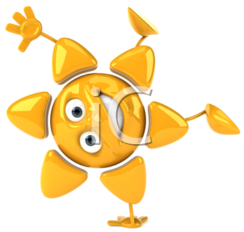 Royalty Free Clipart Image of a Sun Doing a Handstand