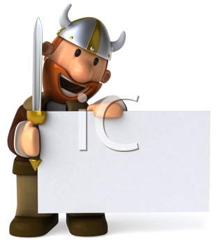 Royalty Free Clipart Image of a Viking With a Placard