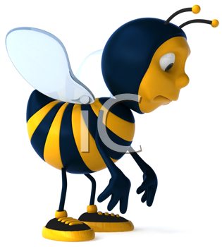 Royalty Free Clipart Image of a Sad Bee