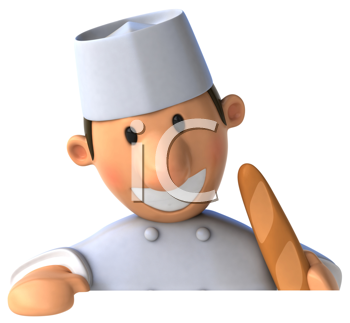 Royalty Free Clipart Image of a Baker With a Breadstick