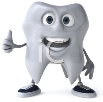 Royalty Free Clipart Image of a Smiling Tooth