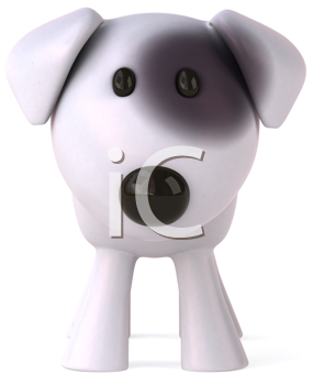 Royalty Free Clipart Image of a Dog With a Black Spot Around Its Eye
