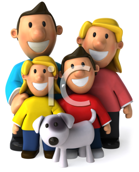 Royalty Free Clipart Image of a Family With a Dog