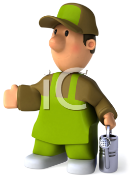 Royalty Free Clipart Image of a Gardener With a Watering Can