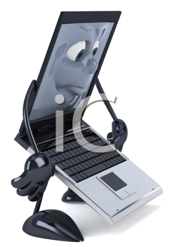 Royalty Free Clipart Image of a Laptop Looking Sad
