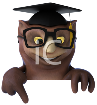 Royalty Free Clipart Image of an Owl Professor Pointing