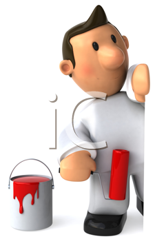 Royalty Free Clipart Image of a Painter With Red Paint