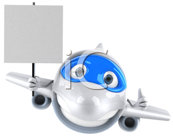 Royalty Free Clipart Image of a Plane With a Sign