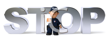 Royalty Free Clipart Image of a Cop in Front of the Word Stop