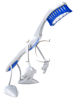 Royalty Free Clipart Image of a Sad Toothbrush
