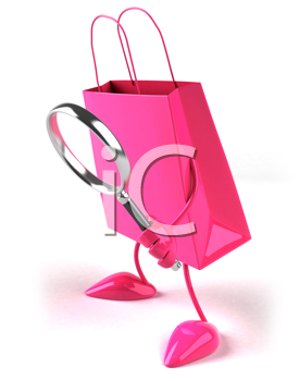 Royalty Free Clipart Image of a Bag With a Magnifying Glass