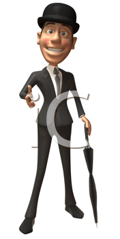 Royalty Free Clipart Image of a Man in a Bowler With an Umbrella