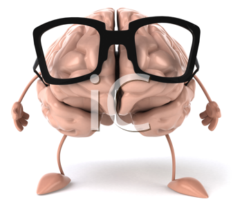 Royalty Free Clipart Image of a Brain in Glasses