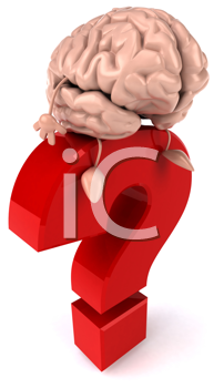 Royalty Free Clipart Image of a Brain on a Question Mark