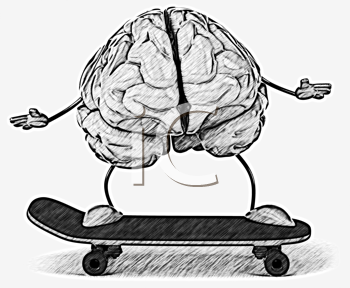 Royalty Free Clipart Image of a Brain on a Skateboard
