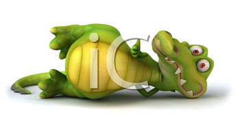 Royalty Free Clipart Image of an Alligator on Its Side