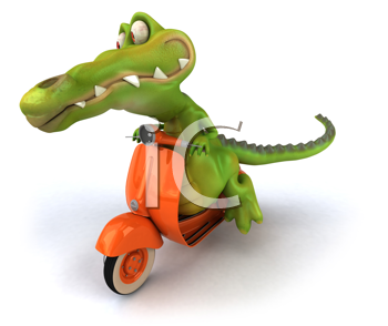Royalty Free Clipart Image of a Crocodile on a Scooter