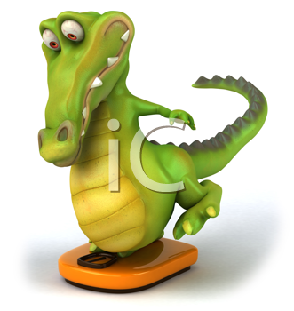 Royalty Free Clipart Image of a Crocodile on a Bathroom Scale