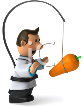 Royalty Free Clipart Image of a Physician With a Carrot in Front of Him