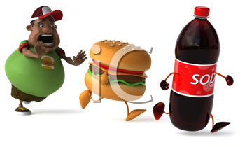 Royalty Free Clipart Image of an Overweight Man Chasing Fast Food