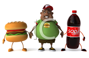 Royalty Free Clipart Image of an Overweight Man Holding Hands With Pop and a Burger