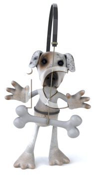Royalty Free Clipart Image of a Dog With a Bone Being Dangled in Front of It