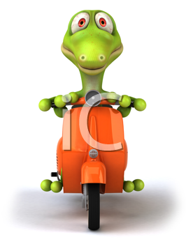 Royalty Free Clipart Image of a Lizard on a Scooter