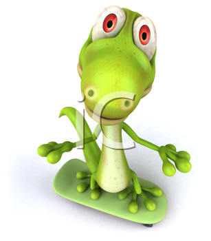 Royalty Free Clipart Image of a Lizard on a Skateboard